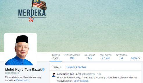 Najib Pemimpin Ke-6 Paling Ramai Followers Twitter Di Asia