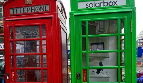 London Kini Ada 'Solarbox', Pondok Untuk Cas Telefon