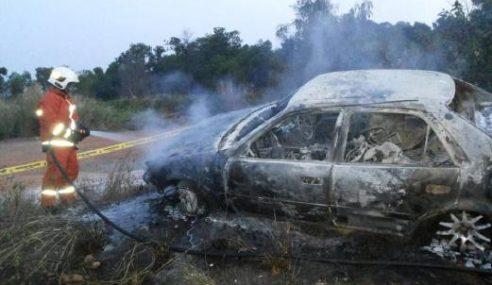 Lelaki Nyaris Rentung, Kereta Terbakar Selepas Kemalangan