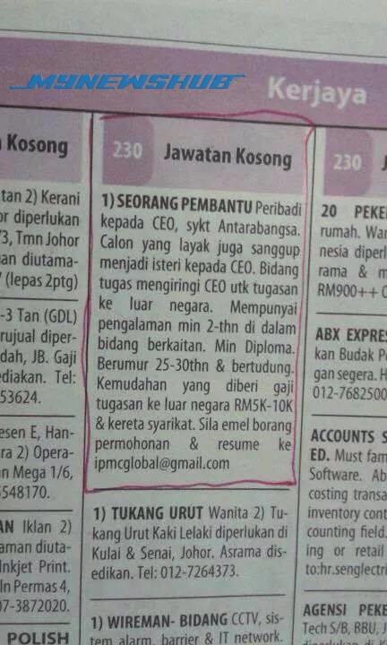 Lawak.. CEO Iklankan Jawatan Kosong Di Akhbar Cari Bini!