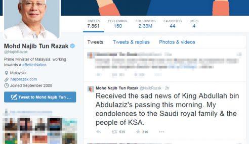 Najib Ucap Takziah Kepada Kerabat Almarhum Raja Abdullah