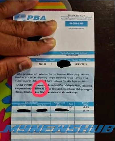 Rakyat Penang Kena 'Pau' 90 Sen Masa Bayar Bil Air.. Motif??