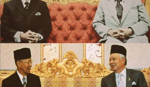 Foto Ikonik Najib, Tun Razak & Agong Sempena Hari Bapa