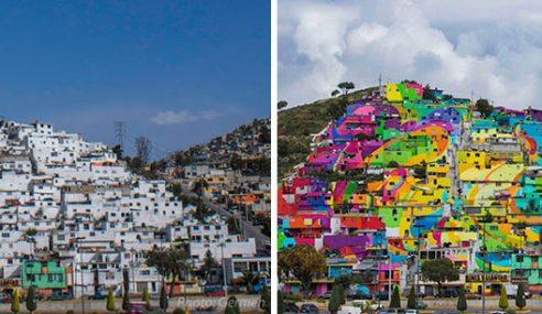 Artis Jalanan Bergabung, Ceriakan 200 Rumah Buruk Di Mexico