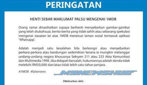 SKMM Beri Peringatan Jangan Sebar Maklumat Palsu 1MDB