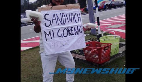 Gambar Lelaki Jual Mi Goreng & Sandwich Jadi Viral