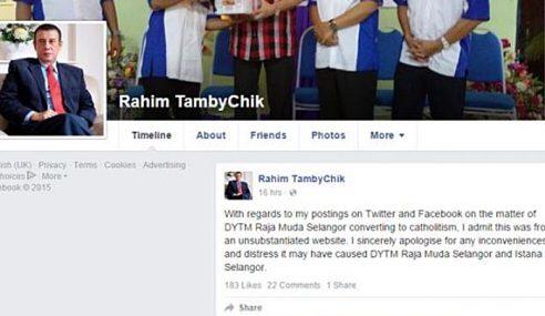 Isu Murtad: Rahim Thamby Chik Mohon Maaf Istana Selangor