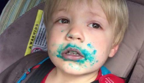 Video: Comel! Budak Lelaki Tak Mengaku Makan Cupcakes