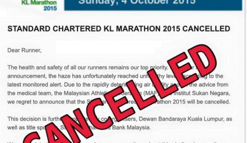 Larian Maraton SCKL Dibatalkan Berikutan Jerebu