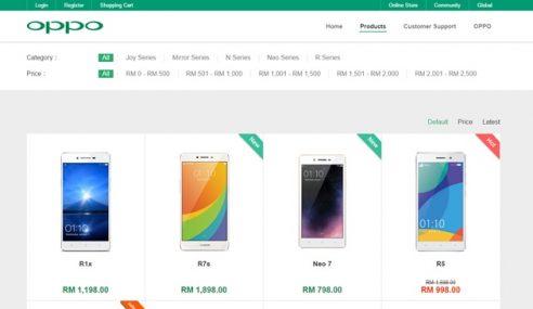 Oppo Store Diperkenalkan, Penjualan Produk Atas Talian