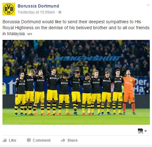 Kelab Borussia Dortmund Tafakur Seminit Untuk Tunku Jalil