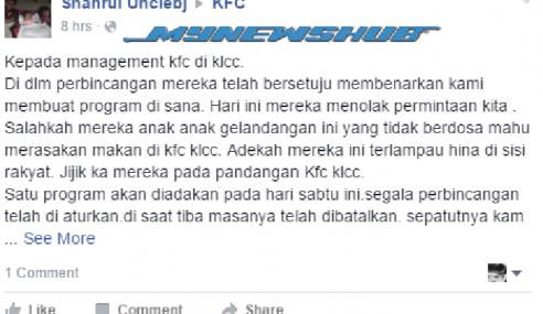 KFC KLCC Enggan Layan Kerja Amal Bantu Gelandangan?