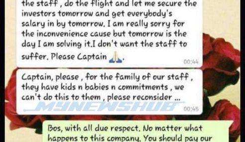 WhatsApp Bos Rayani Air Rayu Pilot Masuk Kerja Demi Staf Lain