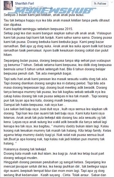 Sharifah Farl, Wanita Melayu Bangga Mengaku Murtad