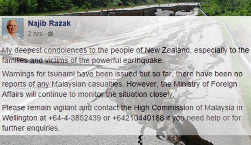 Gempa: Rakyat Malaysia Di NZ Harus Waspada
