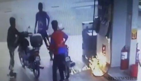 Video: Padah Bergurau Guna Pemetik Api Di Stesen Minyak