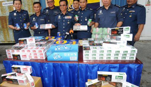 Kastam Sarawak Rampas Rokok Dan Bir Seludup
