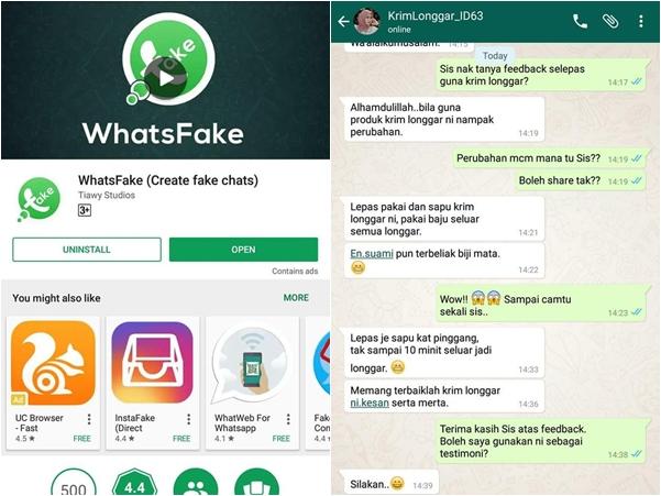 Testimoni Palsu Guna Aplikasi WhatsFake Tarik Pelanggan