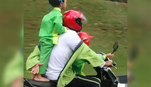 Foto Budak Tadika Berdiri Bonceng Motosikal Tular