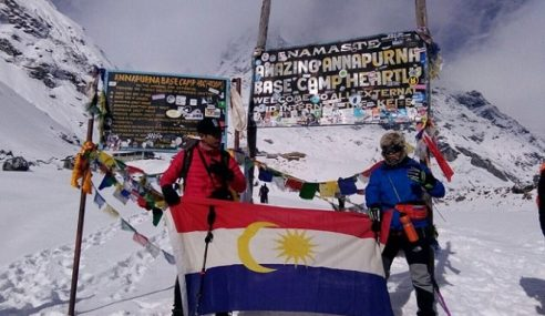 Pendaki Labuan Jejak Kaki Di Annapurna Base Camp, Nepal