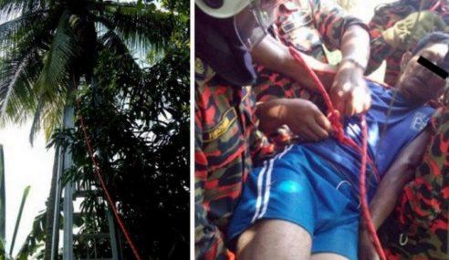 Lelaki Tersangkut Atas Pokok Kelapa Akibat Kejang