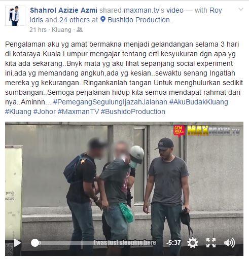 Shahrol Shiro Ditolak Ketika Menyamar Gelandangan