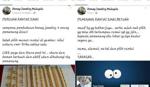 Peraduan Palsu Menang Emas Ternyata 'Maha Penipu'