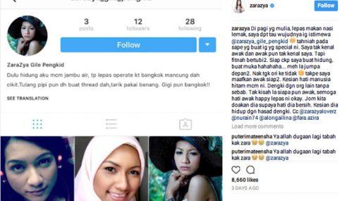 Zara Zya Kecewa Wujud Instagram Palsu Fitnah Diri