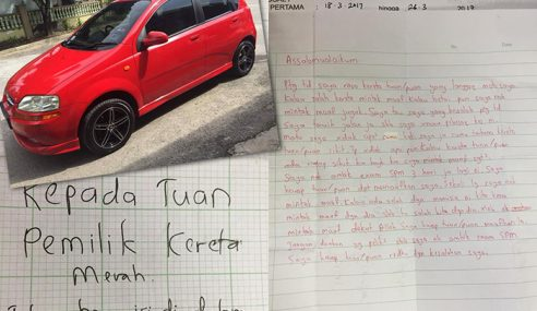 """""""Kepada Pemilik Kereta, Saya Minta Maaf"""" – Pelajar"""