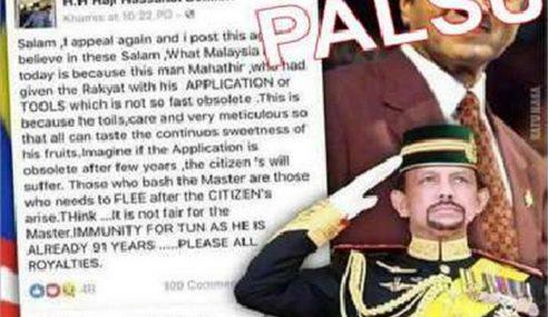 Brunei Nafi Sultan Hassanal Bolkiah Sokong Mahathir