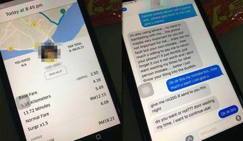 Tertinggal iPhone, Lelaki Diperas Ugut Pemandu Uber