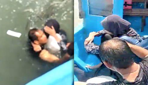 Abam Polis Selamatkan Wanita Terjun Jambatan
