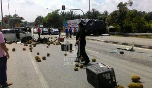8 Kenderaan Kemalangan, 'Hujan Durian' Atas Jalan