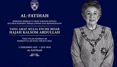 Bonda Sultan Johor Kembali Ke Rahmatullah