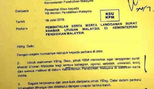 Pegawai Khas Menteri Arah Batal Langgan Utusan