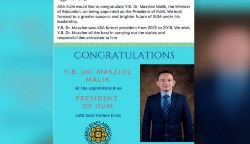 ADUN DAP: Maszlee Mesti Lepas Jawatan Presiden IIUM
