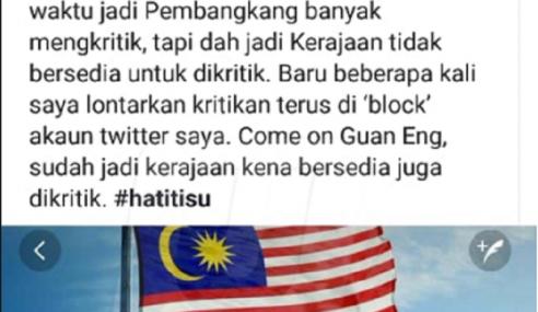 Asyraf Wajdi Kesal Guan Eng Sekat Akaun Twitter