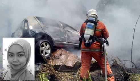 Guru Wanita Maut, Rakan Cedera Kereta Dinaiki Terbabas Terbakar