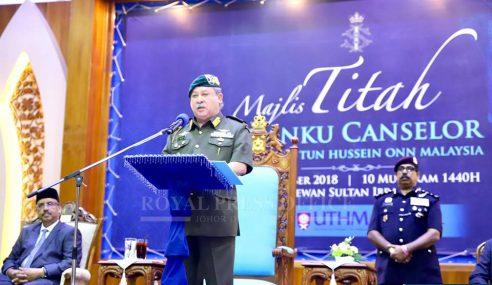 Sultan Johor Kurnia Pesawat Kepada UTHM