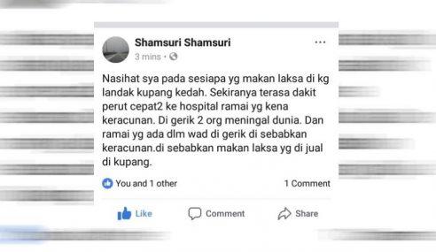 Jabatan Kesihatan Kedah & Perak Siasat Kes Kematian Akibat Laksa