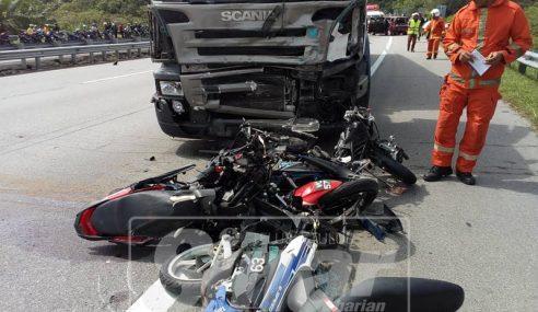 Lori Rempuh Konvoi Motosikal, Seorang Maut, Enam Parah
