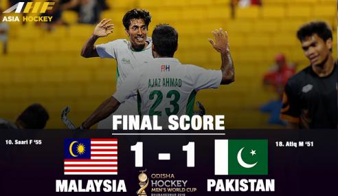 Hoki Piala Dunia: Malaysia Seri 1-1 Dengan Pakistan