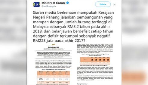 MB Pahang Selar Kenyataan Guan Eng Menerusi Twitter
