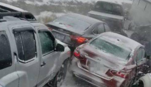 47 Kenderaan Terlibat Kemalangan Akibat Salji Tebal