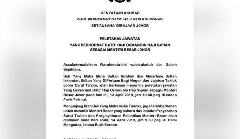 Lantikan Menteri Besar Johor Baharu Esok