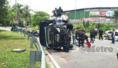 3 Polis Parah, 5 OKT Cedera Kemalangan