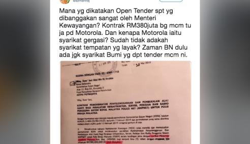Kementerian Kewangan Lulus Kontrak Rundingan Terus?