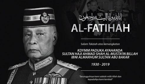 Sultan Johor Zahir Takziah