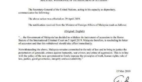 Malaysia Sudah Keluar Dari Statut Rom