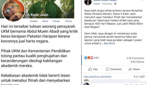 Pensyarah Diugut Selepas Artikelnya Dikritik Kadir Jasin